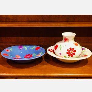 🌸🌿 Majolica Style Large Bowls & Vase🌿🌸